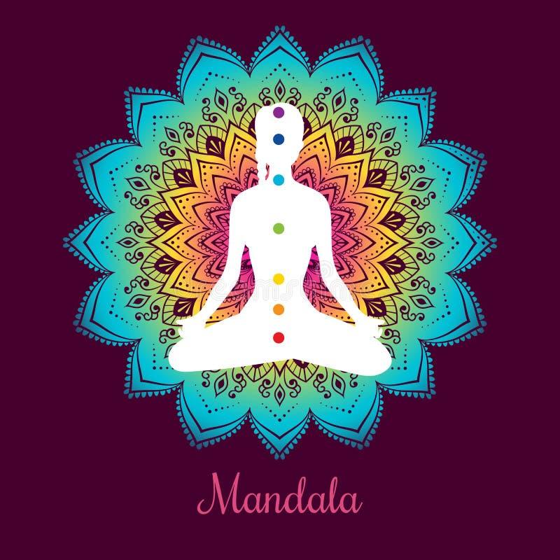 Farbe-chakras mit Frau lizenzfreie abbildung