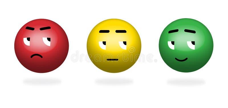 Farbe 3D stellt Feedback/Stimmung gegenüber Stellen Sie von der Gesichtsskala - trauriges neutrales Lächeln - lokalisierte Vektor lizenzfreie abbildung