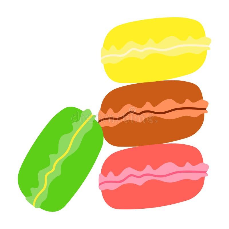 Farbe der Makronen vier: Rosa, braun, grün, gelb lizenzfreie abbildung