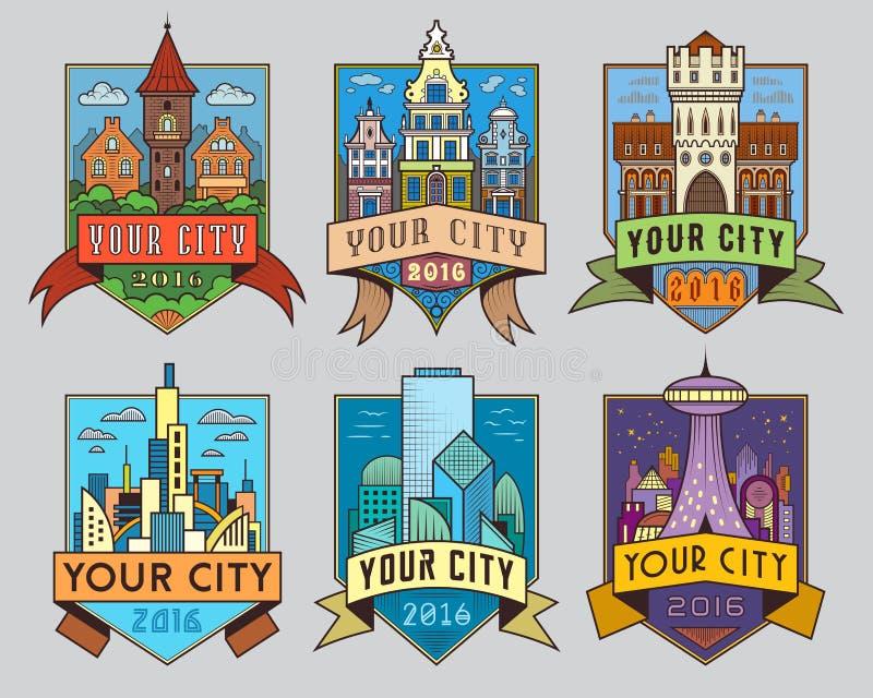Farbe der Stadt badges1 lizenzfreie abbildung