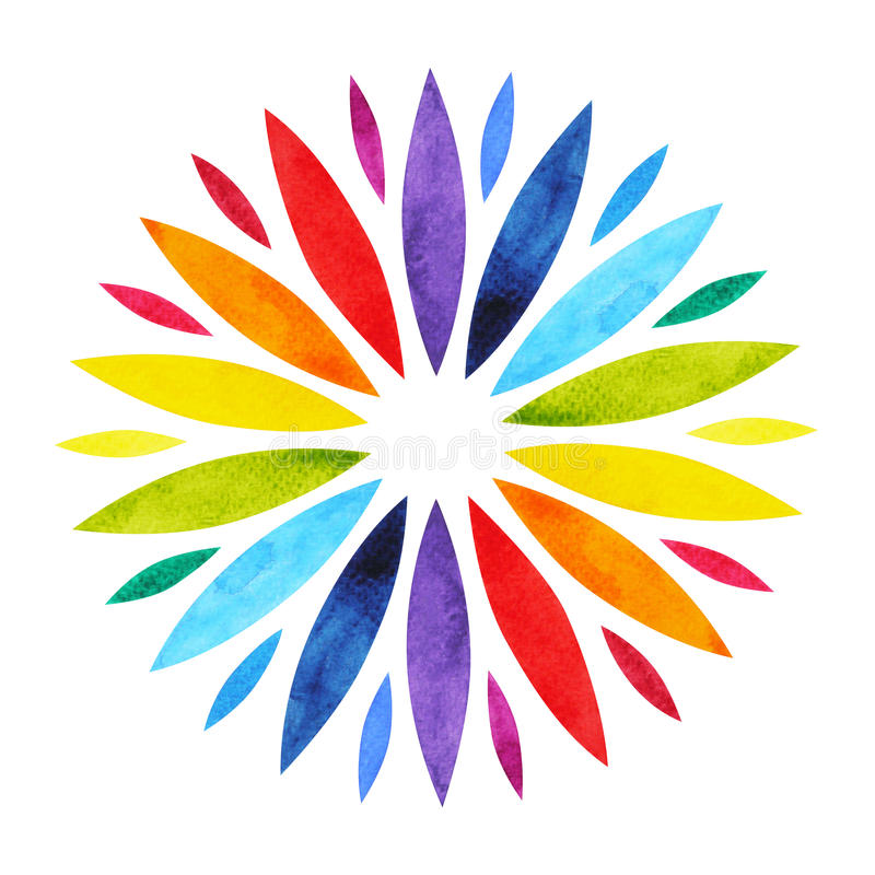 Farbe 7 des chakra Mandala-Symbolkonzeptes, blühen Blumen, Aquarellmalerei vektor abbildung