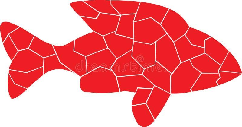 Farbe des Rotes Einsame Fische stock abbildung