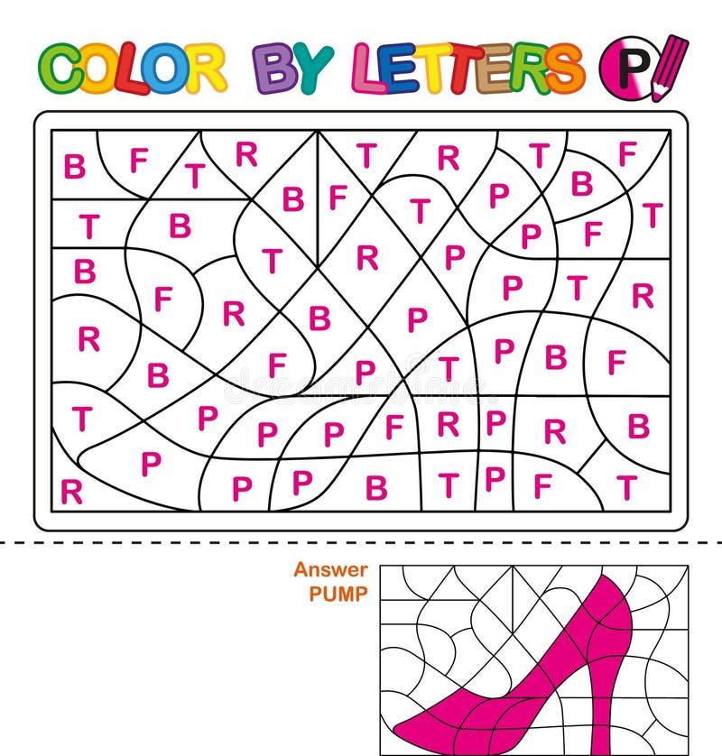 Farbe durch Buchstaben Lernen der Großbuchstaben des Alphabetes Puzzlespiel für Kinder Bezeichnen Sie P mit Buchstaben pumpen Vor vektor abbildung