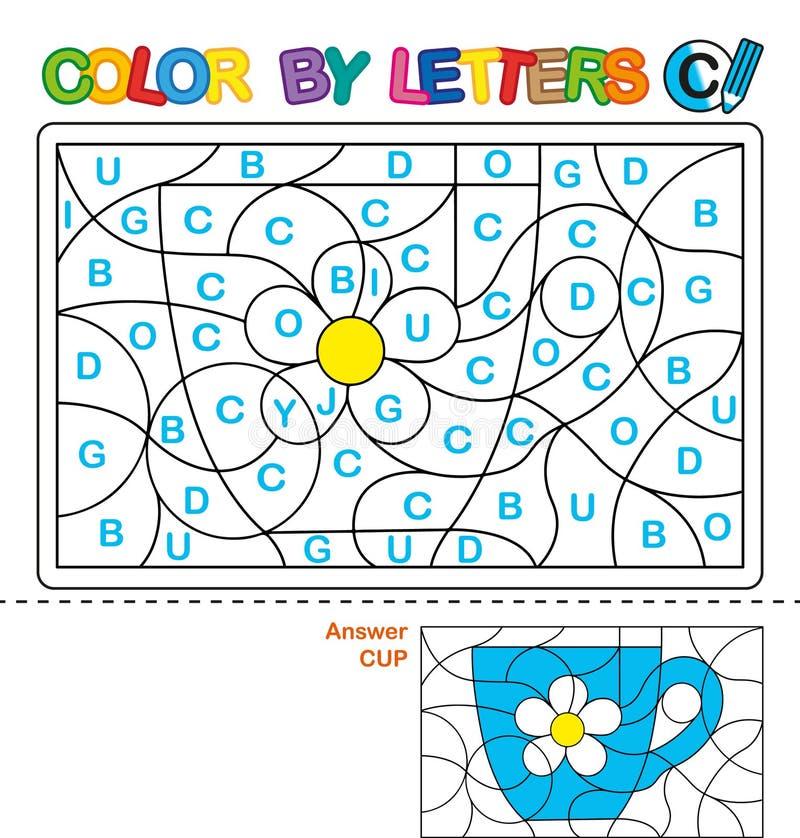 Farbe durch Buchstaben Lernen der Großbuchstaben des Alphabetes Puzzlespiel für Kinder Buchstabe C cup Vorschulbildung stock abbildung