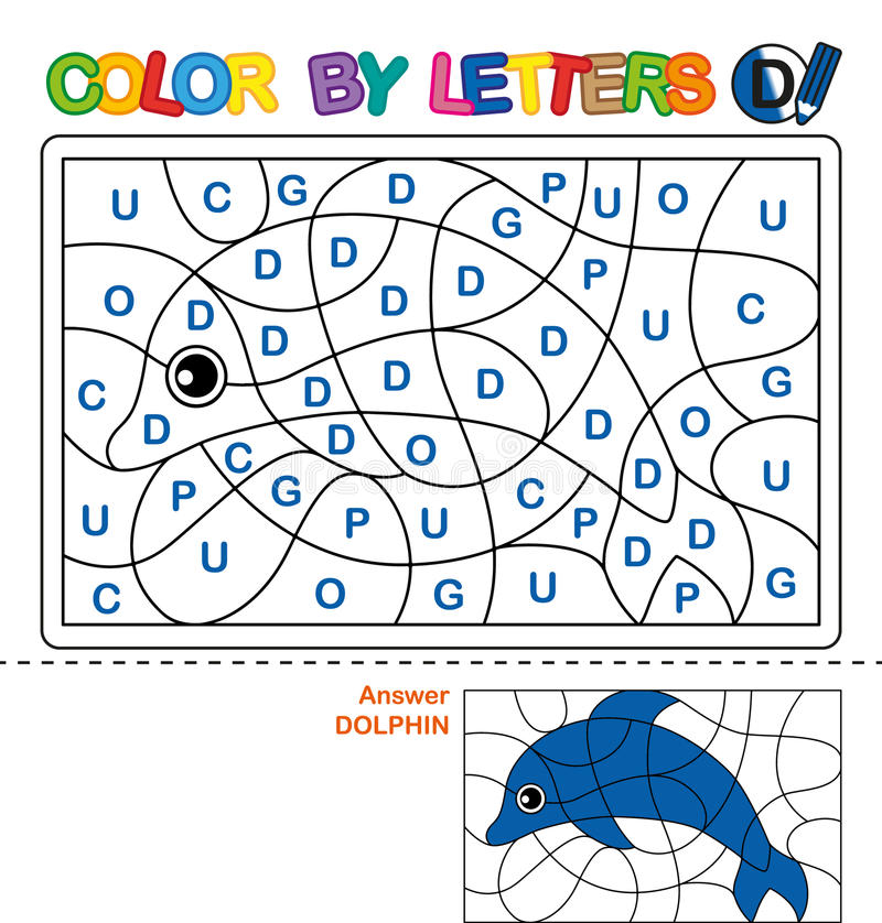 Farbe durch Buchstaben Lernen der Großbuchstaben des Alphabetes Puzzlespiel für Kinder Buchstabe D delphin Vorschulbildung vektor abbildung