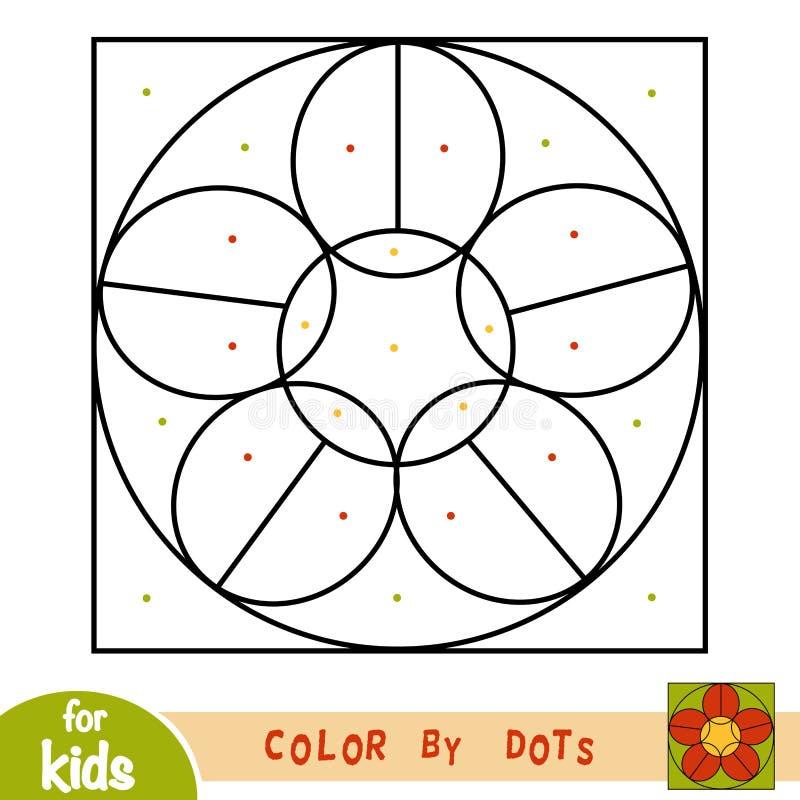 Farbe durch Punkte, Spiel für Kinder, Blume lizenzfreie abbildung