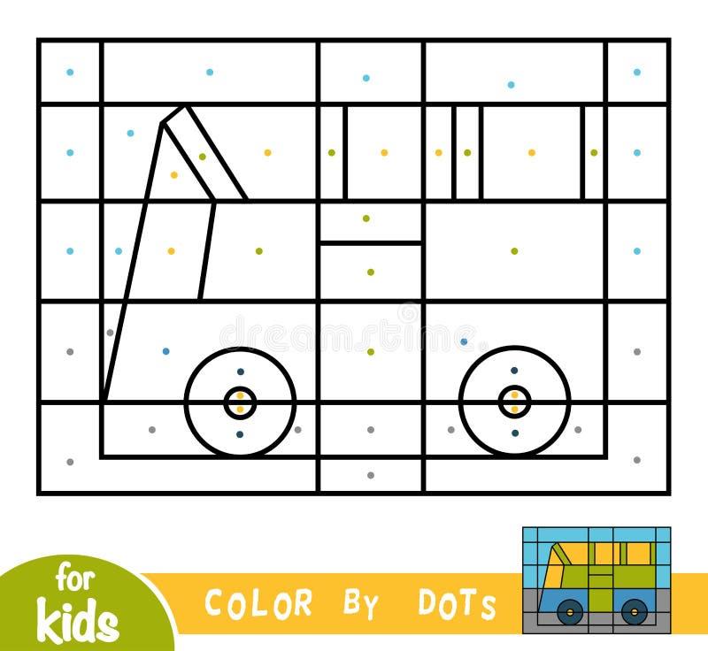 Farbe durch Punkte, Spiel für Kinder, Bus stock abbildung