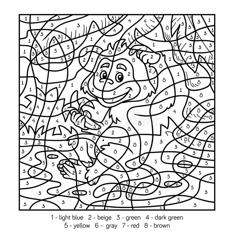 Farbe durch Zahl, Affe stock abbildung