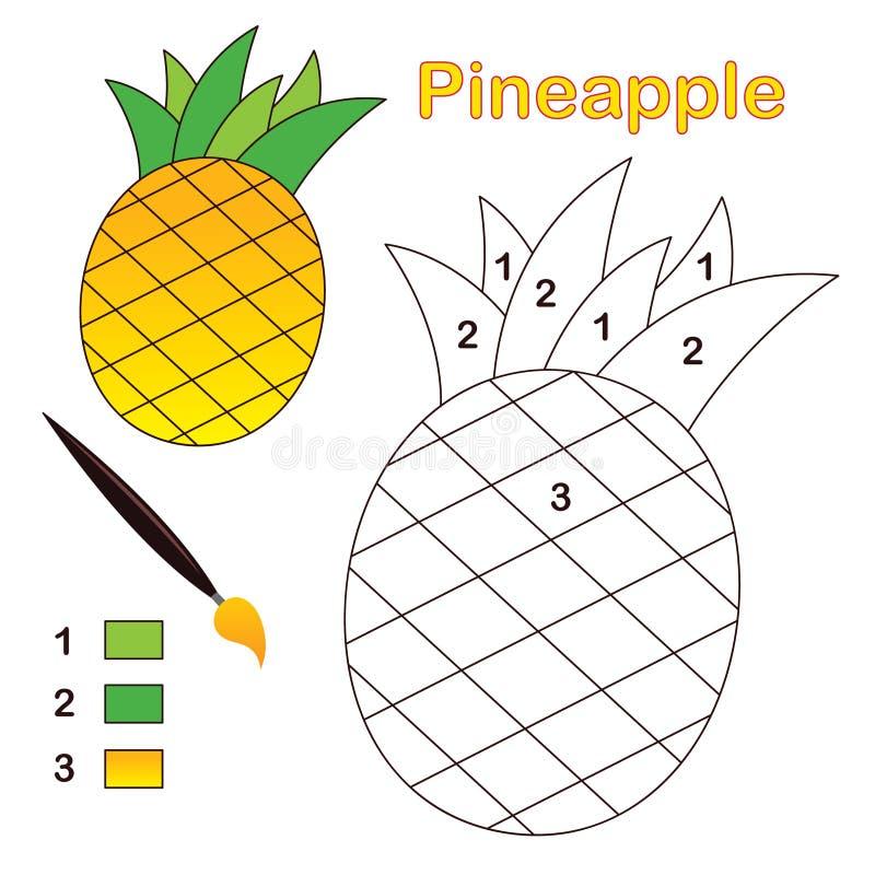 Farbe durch Zahl: Ananas lizenzfreie abbildung