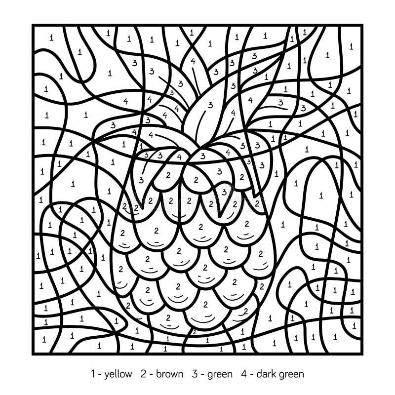 Farbe durch Zahl, Ananas vektor abbildung