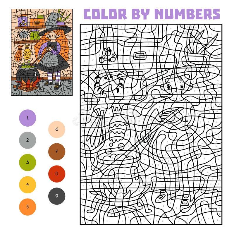 Farbe durch Zahl, Ausbildungsspiel, Hexe und großen Kessel mit Zaubertrank lizenzfreie abbildung