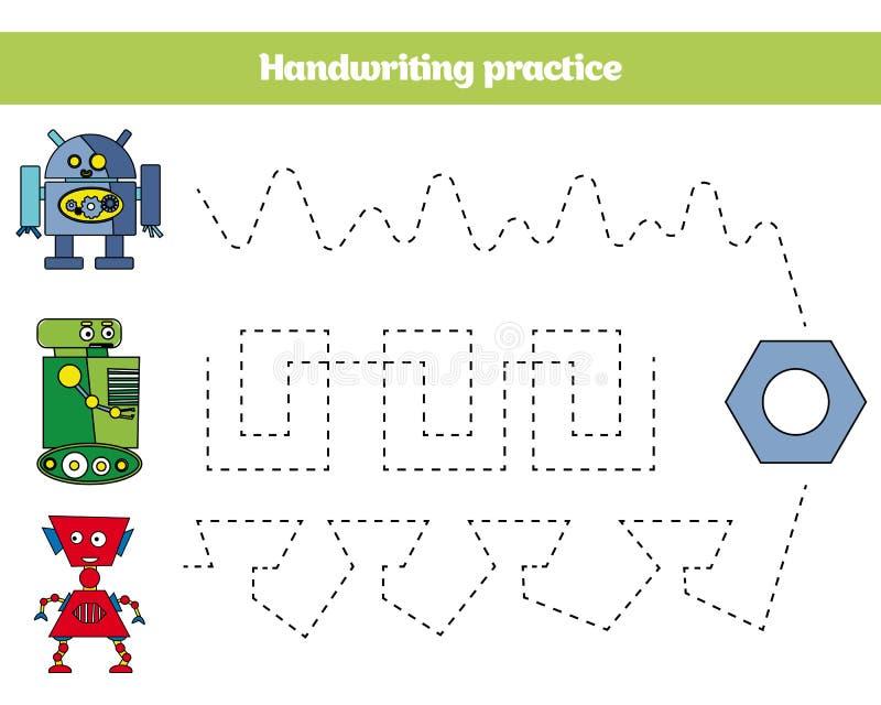Farbe durch Zahl, Bildungsspiel für Kinder Farbtonseite, Zeichnung scherzt Tätigkeit Roboterdesign vektor abbildung