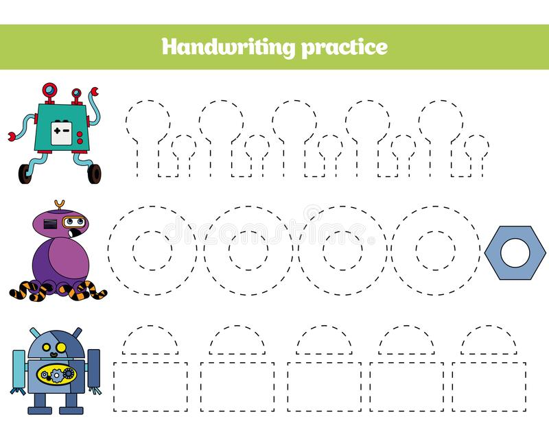 Farbe durch Zahl, Bildungsspiel für Kinder Farbtonseite, Zeichnung scherzt Tätigkeit Roboterdesign lizenzfreie abbildung