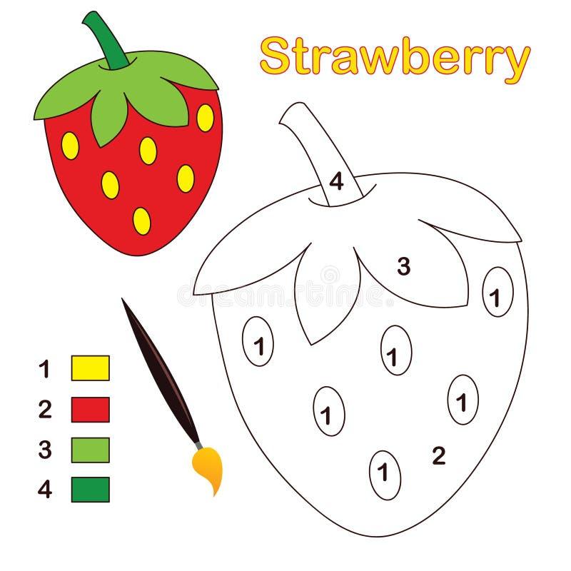 Farbe durch Zahl: Erdbeere lizenzfreie abbildung