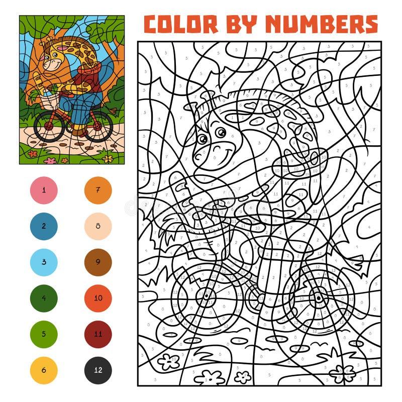 Farbe Durch Zahl Für Kinder, Giraffe Auf Einem Fahrrad Vektor ...