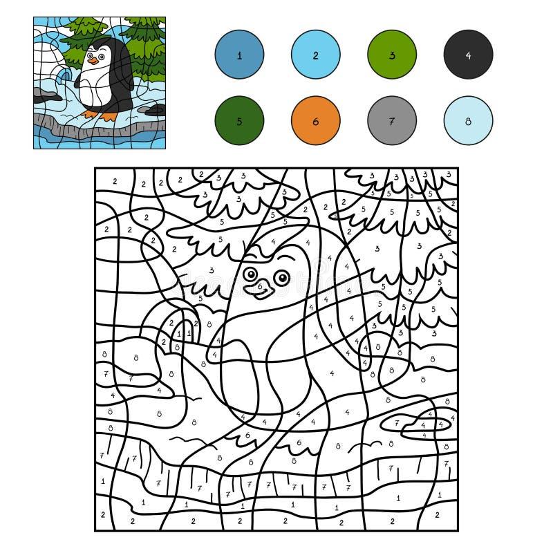 Farbe durch Zahl für Kinder (Pinguin und Hintergrund) stock abbildung