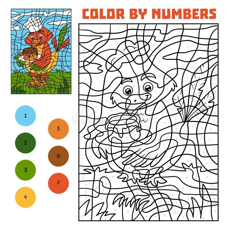 Farbe durch Zahl für Kinder, Vogel mit Kuchen stock abbildung