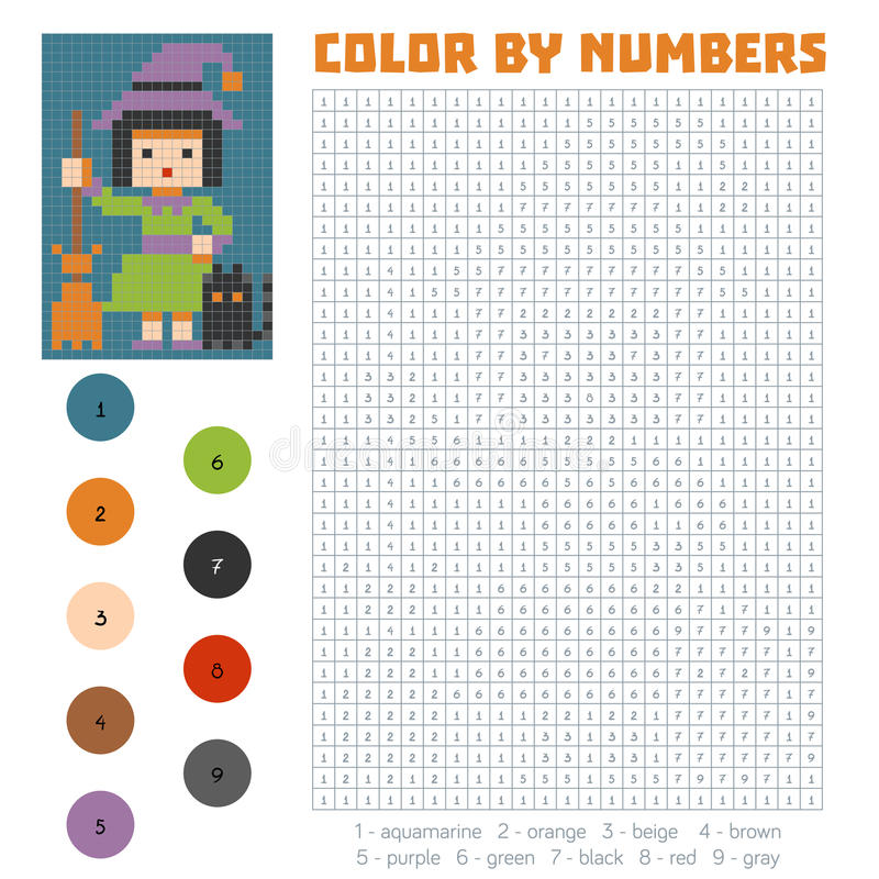 Farbe durch Zahl, Hexe lizenzfreie abbildung