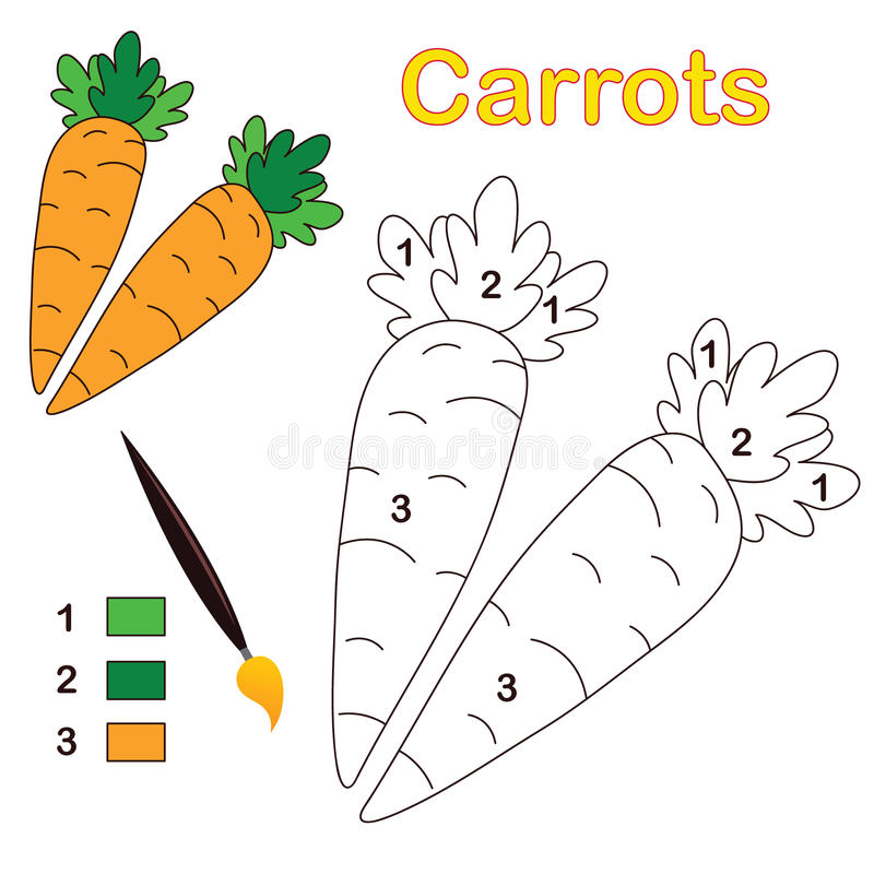Farbe durch Zahl: Karotten stock abbildung