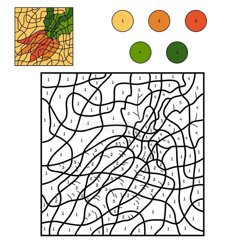 Farbe durch Zahl: Karotten vektor abbildung