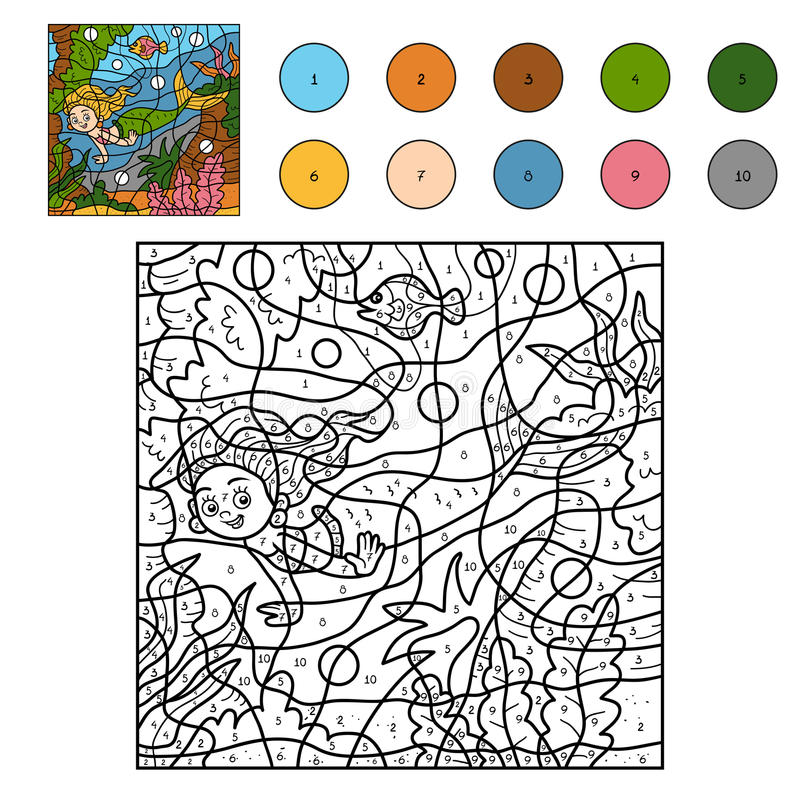 Farbe durch Zahl (kleine Meerjungfrau) stock abbildung