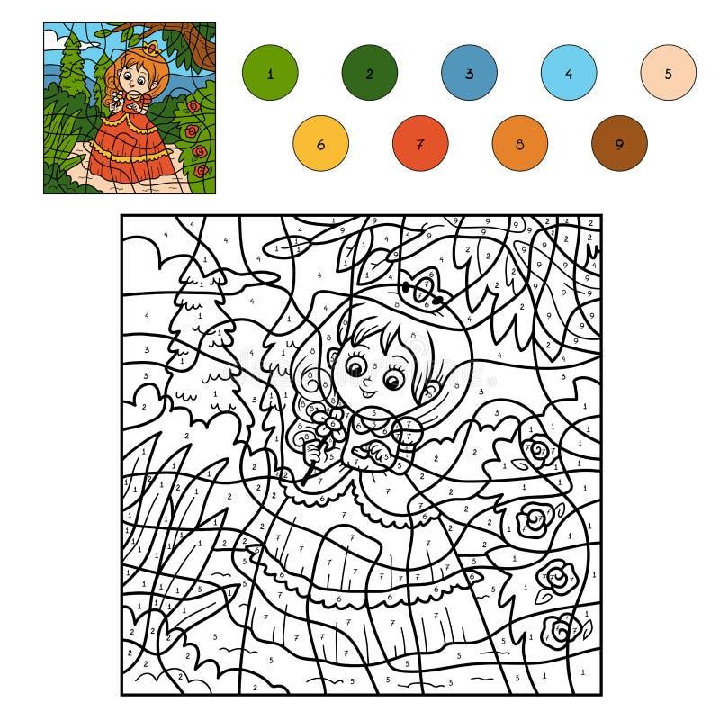 Farbe durch Zahl, kleine Prinzessin stock abbildung