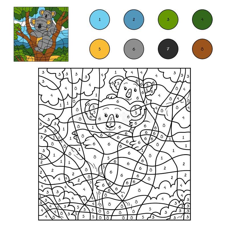 Farbe durch Zahl (Koalafamilie) lizenzfreie abbildung