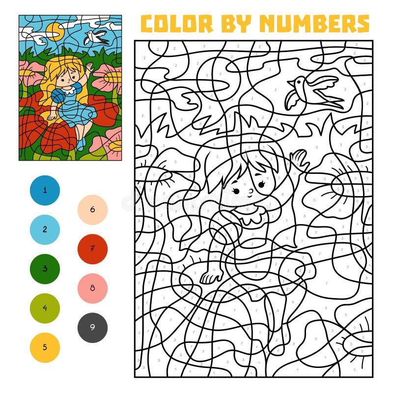 Farbe durch Zahl Märchen Thumbelina auf einer Blume in einer Wiese und einer Schwalbe im Himmel lizenzfreie abbildung