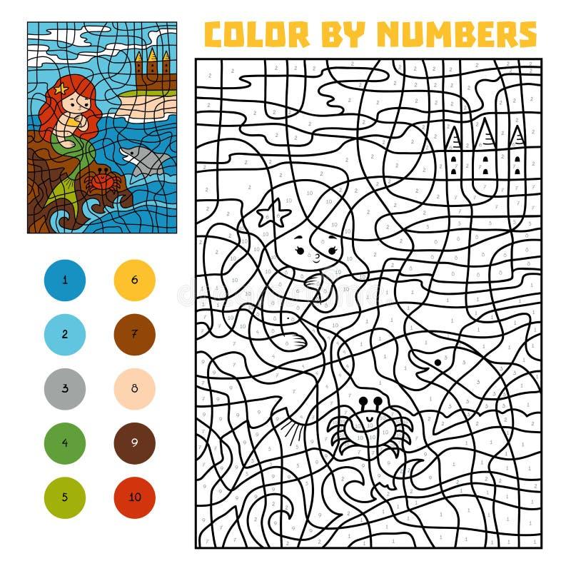 Farbe durch Zahl Märchen Wenig Meerjungfrau auf einem Felsen im Meer lizenzfreie abbildung