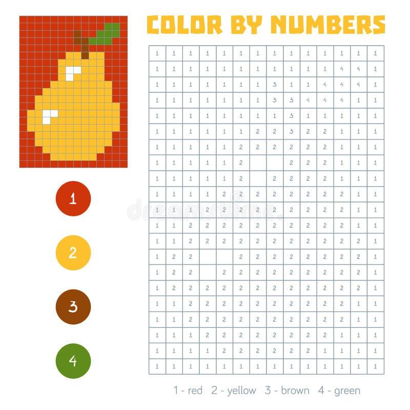 Farbe durch Zahl, Obst und Gemüse, Birne stock abbildung