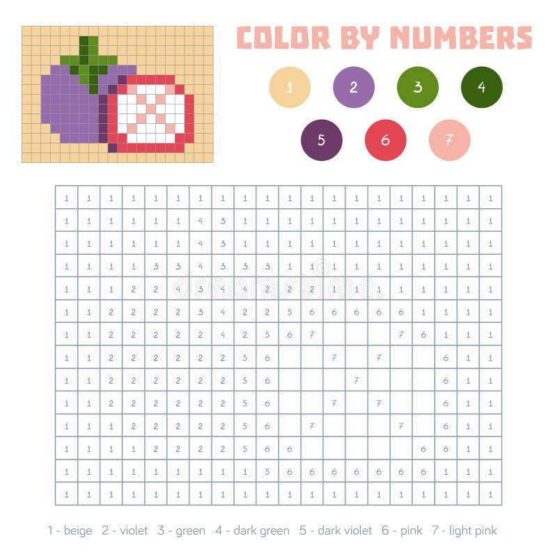 Farbe durch Zahl, Obst und Gemüse, Mangostanfrucht lizenzfreie abbildung