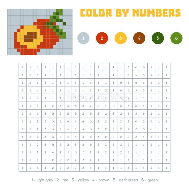 Farbe durch Zahl, Obst und Gemüse, Nektarine vektor abbildung