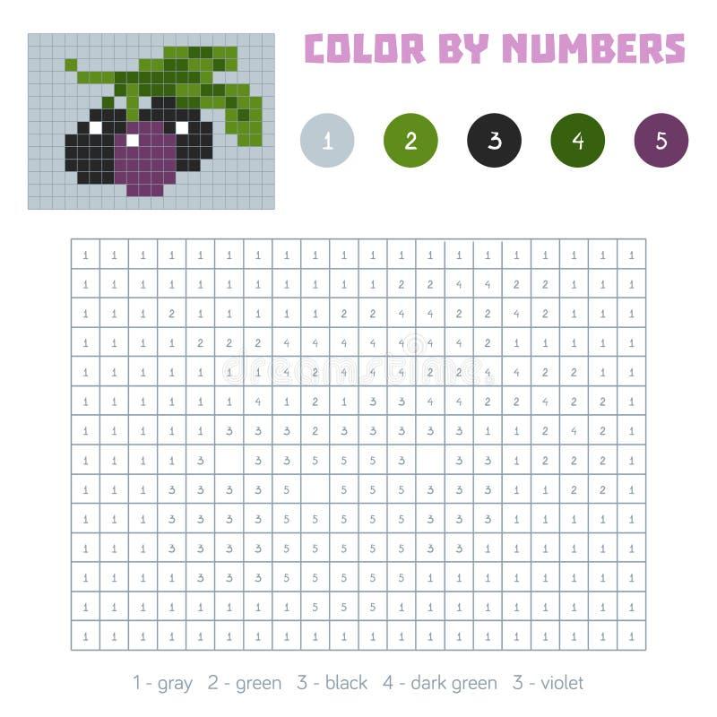 Farbe durch Zahl, Obst und Gemüse, Oliven vektor abbildung