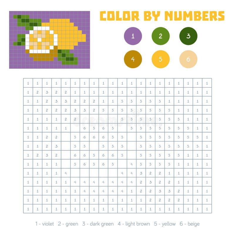 Farbe durch Zahl, Obst und Gemüse, Zitrone vektor abbildung
