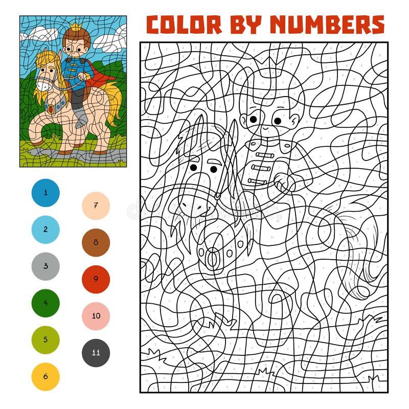 Farbe durch Zahl, Prinz auf Pferd stock abbildung