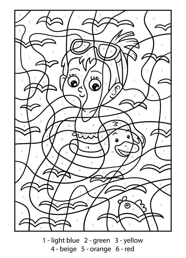 Farbe durch Zahl, schwimmendes Mädchen vektor abbildung