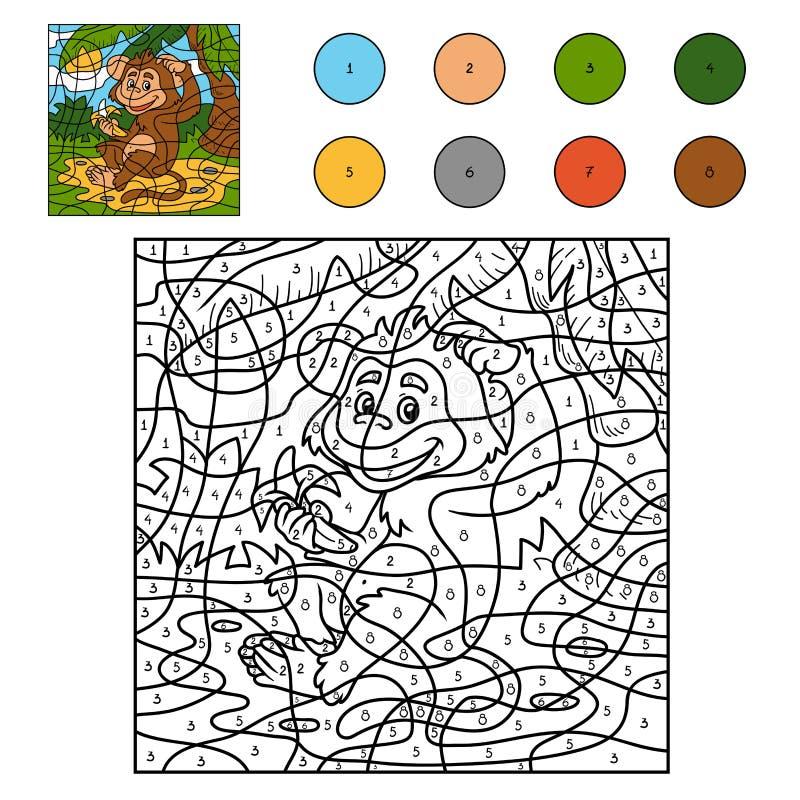Farbe Durch Zahl, Spiel Für Kinder: Affe Mit Einer Banane Vektor ...