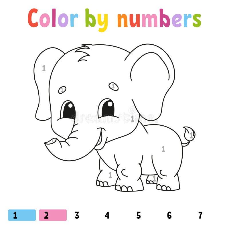 Farbe durch Zahlen Malbuch f?r Kinder Freundliches Zeichen Auch im corel abgehobenen Betrag Nette Karikaturart Hand gezeichnet Fa stock abbildung