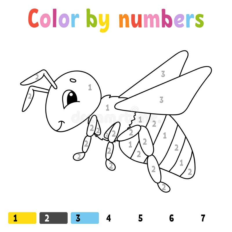 Farbe durch Zahlen Malbuch f?r Kinder Freundliches Zeichen Auch im corel abgehobenen Betrag Nette Karikaturart Hand gezeichnet Fa lizenzfreie abbildung