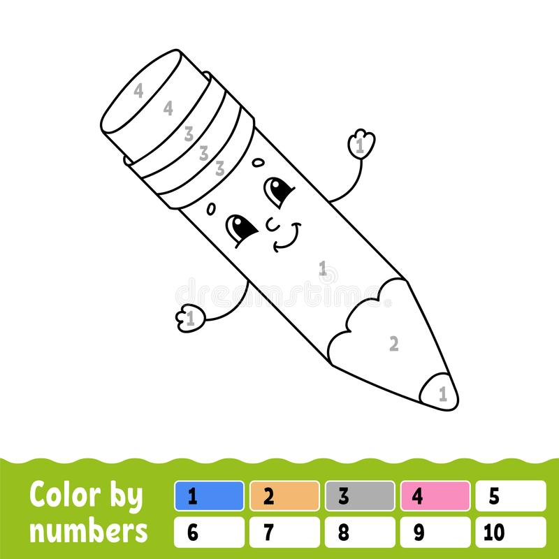 Farbe durch Zahlen Malbuch f?r Kinder Freundliches Zeichen Auch im corel abgehobenen Betrag Nette Karikaturart Hand gezeichnet Fa vektor abbildung