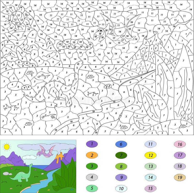 Farbe durch Zahllernspiel für Kinder Dinosaurierpterodaktylus lizenzfreie abbildung