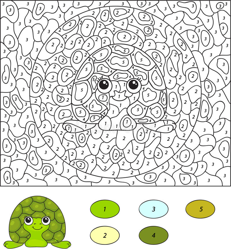 Farbe durch Zahllernspiel für Kinder Karikaturschildkröte Vecto stock abbildung
