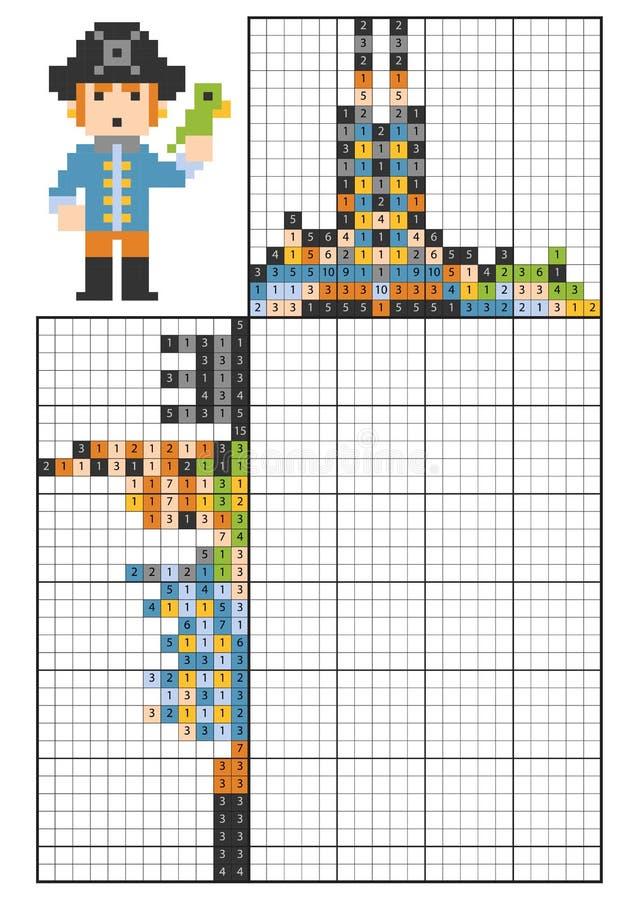 Farbe durch Zahllogikpuzzlespiel, nonogram Pirat mit einem Papageien lizenzfreie abbildung