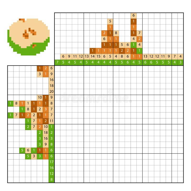 Farbe durch Zahlpuzzlespiel nonogram, Apple vektor abbildung