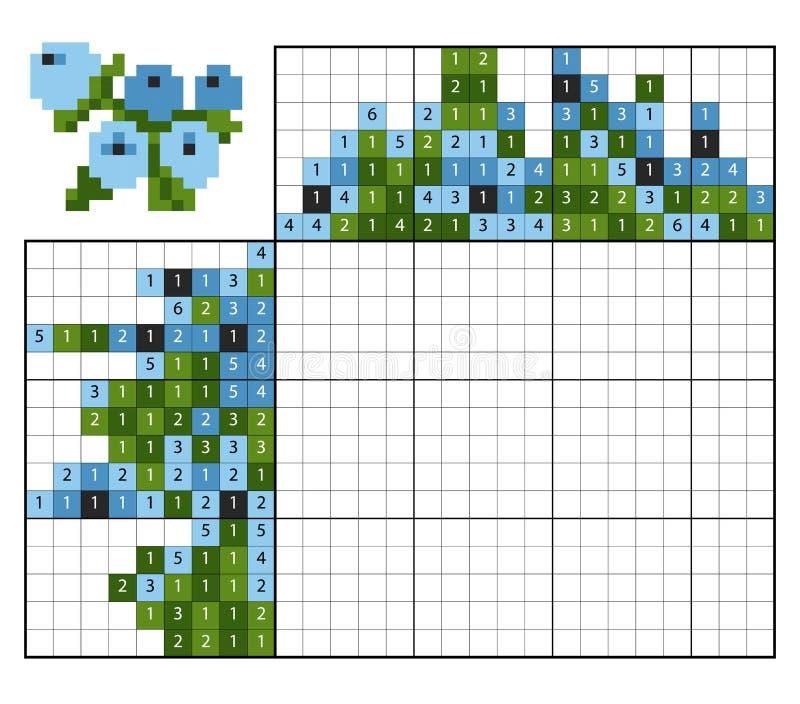 Farbe durch Zahlpuzzlespiel nonogram, Blaubeeren lizenzfreie abbildung