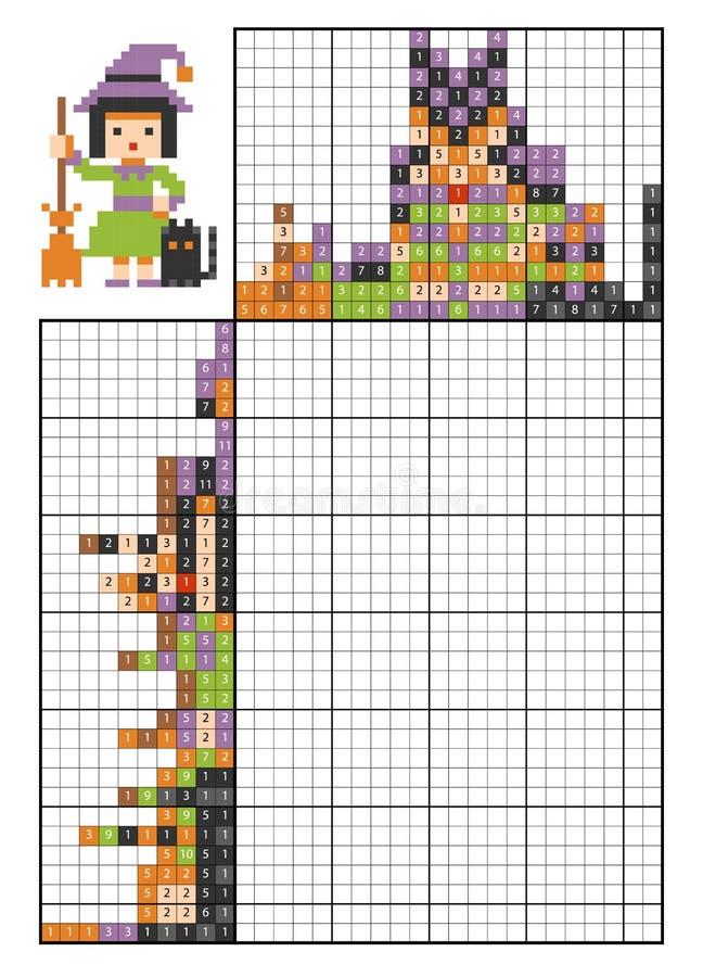Farbe durch Zahlpuzzlespiel nonogram hexe stock abbildung