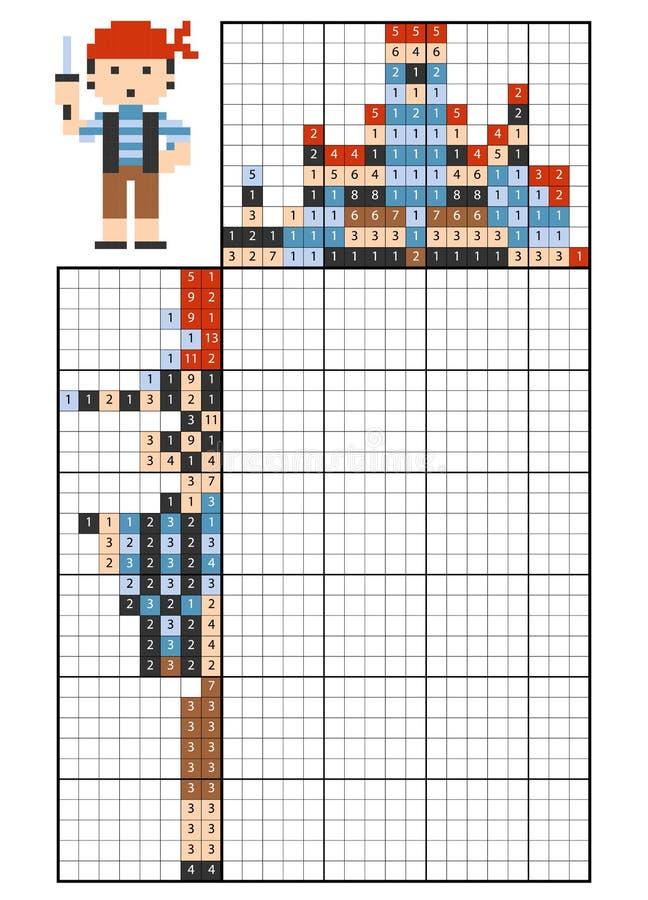Farbe durch Zahlpuzzlespiel nonogram pirat vektor abbildung