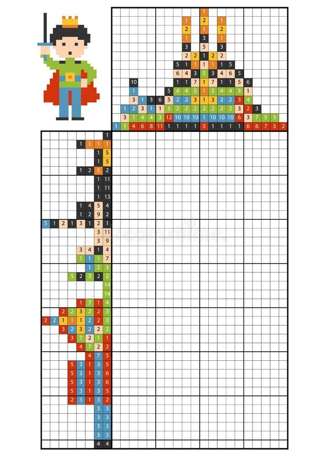 Farbe durch Zahlpuzzlespiel nonogram prinz stock abbildung