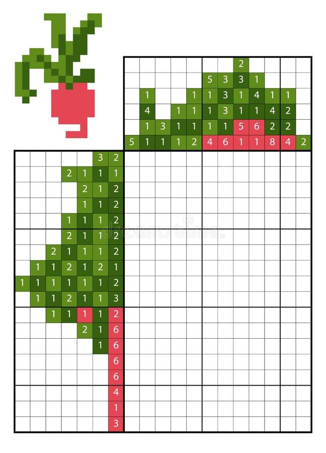 Farbe durch Zahlpuzzlespiel nonogram rettiche stock abbildung