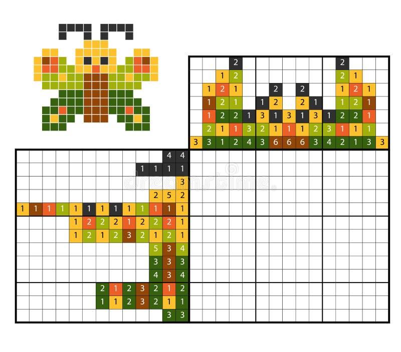 Farbe durch Zahlpuzzlespiel nonogram, Schmetterling lizenzfreie abbildung